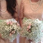 Lace and pearls with babies breath bouquets